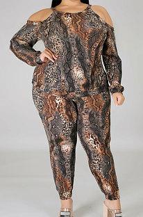 カジュアルBigSize婦人服蛇紋岩プリントオフショルダースリング長袖ロングパンツセットNY5062