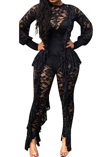 Sexy Long Sleeve perspective Lace Mid Waist  Bodycon Jumpsuits  ED8042