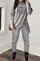 Casual Polyester Printing Long Sleeve Irregular Hooded  Sets MDF5173