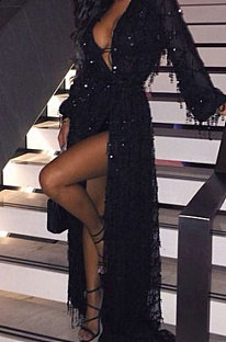 Sexy lange mouw diepe V-hals hoge taille pailletten jurk YF1283
