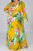 Commuting Big Size Printing Conjoined Split Dress  NY5060