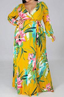 Pendeln Big Size Printing Verbundenes Split-Kleid NYF5060