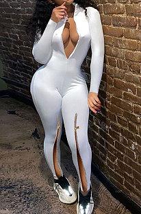 Sportlich Sexy Kultivieren Sie die Moral Reine Farbe Reißverschluss Jumpsuit ABL6618