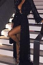 Luxe Blazer Sexy Sequins Long Sleeve Deep V Neck Dress CCY1283
