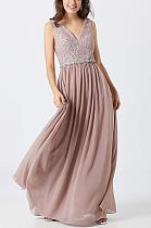 Luxe Blazer Elegant Sleeveless Deep V Neck Long Dress CCY8681