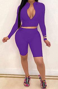 Sexy short met lange mouwen in pure kleur, tweedelig YSH6162