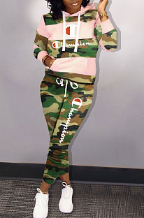 Commuting Camo Long Sleeve Printing Hooded Two-Piece KSN5068