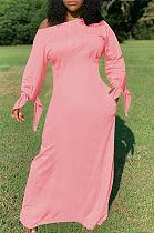 Casual Modest Simplee Long Sleeve Off Shoulder Long Dress QQM4126