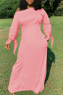Casual Modest Simplee Long Sleeve Off Shoulder Long Dress QQM4126