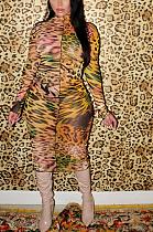 فستان متوسط الطول من الشيفون مثير متواضع وأكمام طويلة CY1263