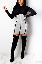 Modest Sexy Simplee Long Sleeve Round Neck Contrast Panel A Line Dress CY1260