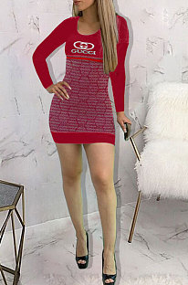commuting Long Sleeve Printing Round Neck Mid Waist Mini Dress  KSN5063