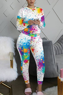 Casual Modest Simplee Tie Dye Long Sleeve Round Neck Pants Sets QQM4124