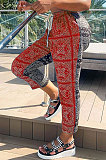 Casual  Printing Contrast Color Mid Waist Casual Pants CYY8031