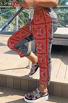 Impression décontractée couleur contrastée pantalon décontracté taille moyenne CYY8031