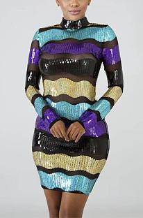Bescheiden luxe sexy lovertjes gestreepte mini-jurk met lange mouwen CCY8175