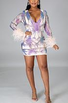 Blazer Night Out Сексуальное мини-платье с длинным рукавом и глубоким v-образным вырезом CCY8741