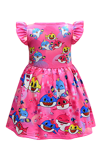 Cartoon Shark Print Baby Girl's Dress YBK39151