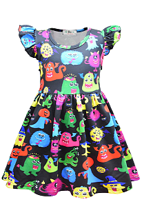 Halloween Costume Creepy Bacteria Pattern Baby Girl's Dress YBK39150