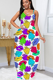 Fashion Printing Sexy Deep V Neck Sling Strawberry Mouth Graphic Dress LIN8806