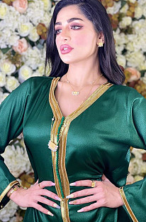 Green Golden Hem V Neck Dubai Dress