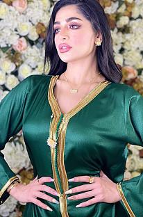 Grünes goldenes Saum-V-Ausschnitt-Dubai-Kleid