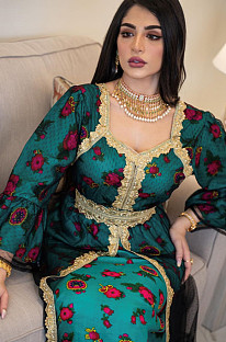 Rose Randomly Print bestickt Saum Loose Muslim & Dubai Kleid