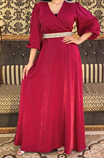 V Neck Self-Belted Dubai Dress