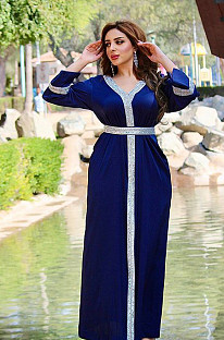 V Neck SilveHem Dubai&Muslim Dress