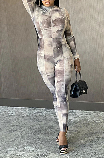 Casual Sexy Tie Dye Long Sleeve Bodycon Jumpsuit My9748