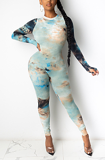 Casual Sexy Tie Dye Long Sleeve Bodycon Jumpsuit MY9742