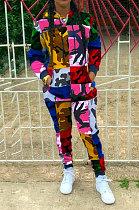 Impression Camo Plaid Spliced Hood Les ensembles de pantalons à manches longues en corde MR223