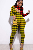 Сексуальные длинные брюки из полиэстера Комбинезоны с двойным цветным принтом в сетку LIN8816