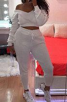 Casual polyester lange mouw Pure kleur off-shoulder broek sets LIN8832