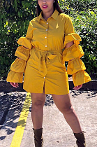 فستان كاجوال متواضع بسيط طويل الأكمام مكشكش PU8183