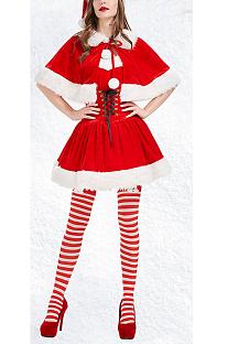 Party Tube Top Weihnachtsmädchen Kurzer Rock Mit Schal PS3508