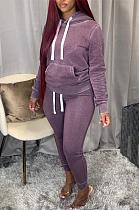 Casual Sporty Simplee Long Sleeve Hoodie Long Pants Sets PU6009