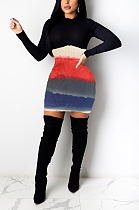 فستان كاجوال متواضع بسيط بأكمام طويلة وياقة دائرية CY1262