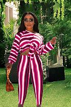 Stripe Contrast Color Bodycon Oblique Shoulder Long Sleeve Pant Sets YFS807
