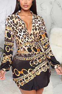 Modest Blazer Vintage Leopard Chain Print Long Sleeve Deep V Neck Shirt Dress SMR9815