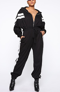 Casual Sporty Simplee Long Sleeve Lapel Neck Waist Tie Overall Jumpsuit BBN029
