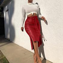 Pu Leather Self Belted Spliced Mid Waist Midi Skirt LS6347