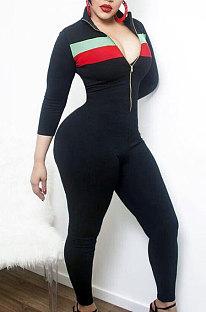 Sexy polyester cultiveert iemands moraliteit Jumpsuits met rits aan de voorkant YR8005