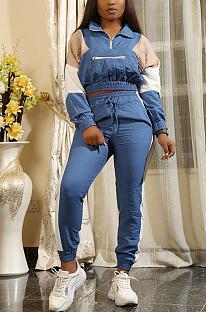 Casual sportieve patchwork capri-broek met lange mouwen en halfhoge taille ORY5172