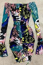 مثير صافي الغزل الطباعة حزمة الخصر العالي buttocksTie صبغ معقود حزام كشكش فستان عصري YS408