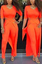أزياء مزاجه ملابس نسائية لون نقي نمط طويل مجوف من قطعتين RZ1033