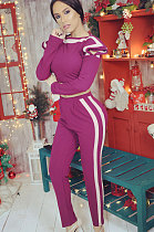 Casual Polyester Long Sleeve Spliced Stripe Pants Sets YR8003
