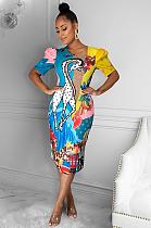 Lovely Cute Cartoon Print Round Neck Short Sleeve Dresses DR8051