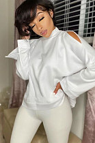 Pure Colo Collar Long Sleeve Off Shoulder Hoodie  AWL5813