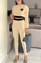 Casual Sporty Patchwork Long Sleeve Round Neck Crop Top Sweat Pants Sets HYY8008
